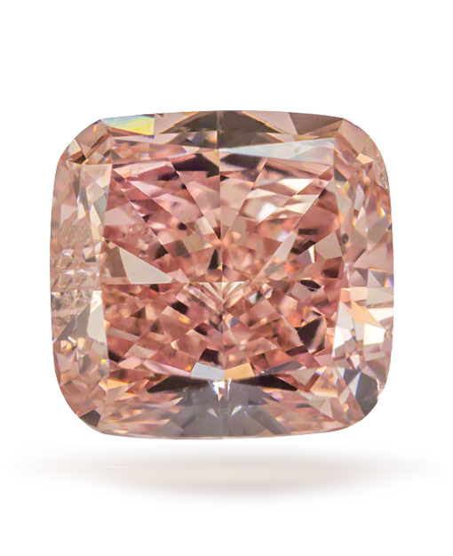 0.50 CARATS FANCY ORANGY PINK CUSHION CUT VS2