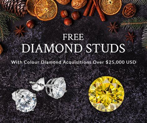 Free Diamonds Studs With Colour Diamond Acquisition