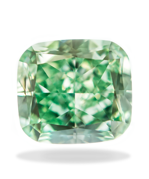 0.33 Carat Fancy Intense Green Cushion Cut VS1